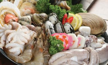 Webfoot Octopus, Shrimp, Scallop, mussel, Manila Clam, Fish Cake, Squid